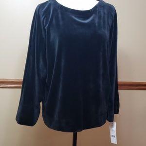 DKNY Women's Sport Velvet Kimono Sweater Black L